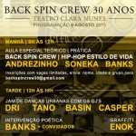 09/08: Back Spin Crew, 30 Anos em SP